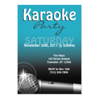 Karaoke Party Blue Invitations