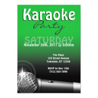 Karaoke Party Green Invitations