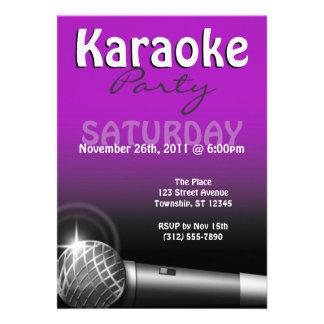 Karaoke Party Purple Invitations