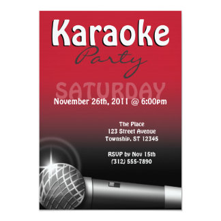 Karaoke Party Red Invitations