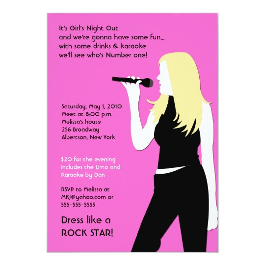 KARAOKE Singing Party Girls Night Out Birthday Card