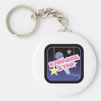 karaoke star basic round button key ring