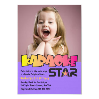 Karaoke Star Photo Birthday Party Invitation