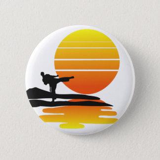 Karate at Sunset. 6 Cm Round Badge