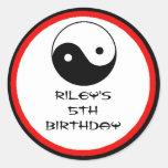 Karate Birthday Party Favour Labels Round Sticker