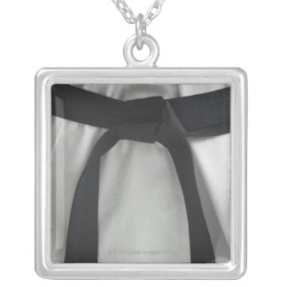 Karate black belt silver plated necklace