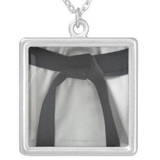 Karate black belt square pendant necklace