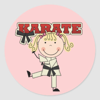 KARATE - Blond Girl T-shirts and Gifts Round Sticker