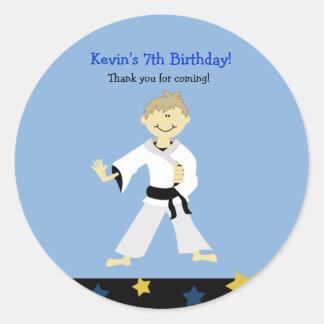 KARATE BOY Black Belt Birthday Favor Sticker