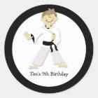 KARATE BOY Blackbelt Birthday Party Favour Sticker