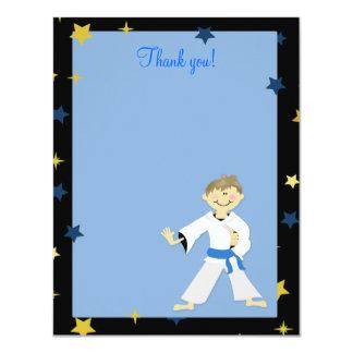 "KARATE BOY Blue Belt 4x5 Flat Thank you note 4.25"" X 5.5"" Invitation Card"