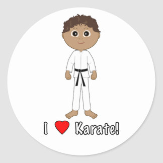 Karate Boy: I Love Karate Round Sticker