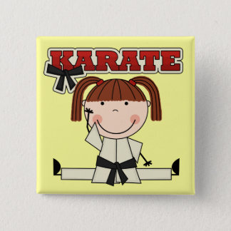 KARATE - Brunette Girl T-shirts and Gifts 15 Cm Square Badge