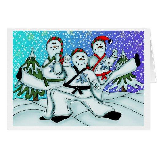 Karate Christmas Snowmen Cards