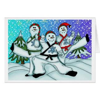 Karate Christmas Snowmen Greeting Card