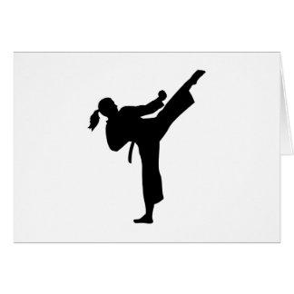 Karate girl woman card