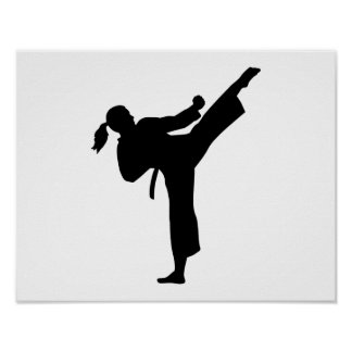 Karate girl woman poster