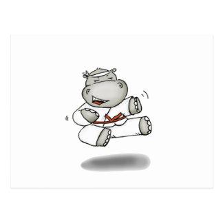 Karate Hippo Postcard