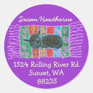 Karate Kat catnap address label Round Sticker