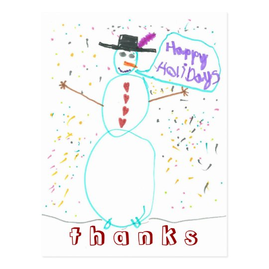 Karate Kat Graphics snowman thank-you Postcard