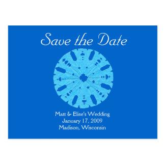 Karate Kat winter wedding save-the-date Postcard