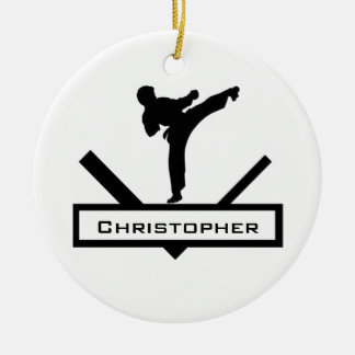 Karate kick personalized name ornament