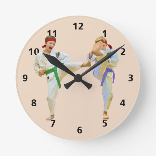 Karate Kicking, Customisable Round Clock
