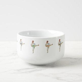 Karate Kicking Martial Arts Customizable Soup Bowl With Handle