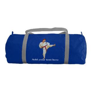 Karate Kicking, Red Belt,  Martial Arts, Text Gym Duffel Bag