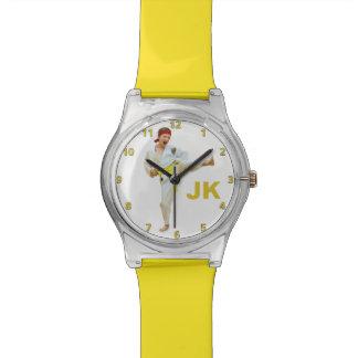 Karate Kicking Yellow Belt Customizable Watch