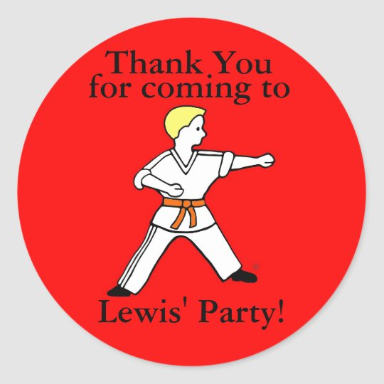 Karate Kid Party Stickers customised for Lewis