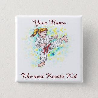 Karate Kids high kicking girl 15 Cm Square Badge
