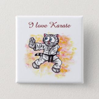 Karate Kitten fighting spirit 15 Cm Square Badge