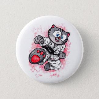 Karate Kitten flying kick 6 Cm Round Badge