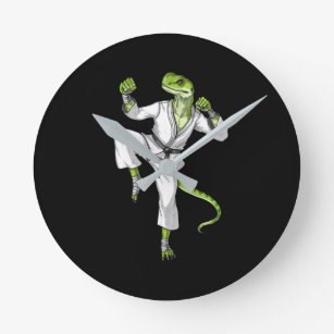 Karate Lizard Round Clock