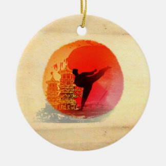 karate man Decoration Round Ceramic Decoration
