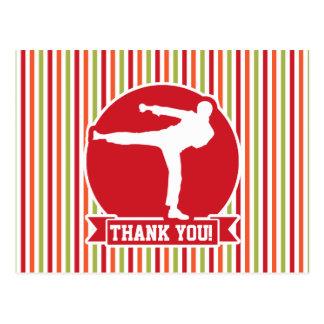Karate, Martial Arts; Red, Green, Orange Stripes Postcard