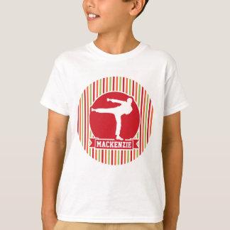 Karate, Martial Arts; Red, Green, Orange Stripes T-Shirt