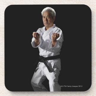 Karate master, portrait, studio shot 2 coasters