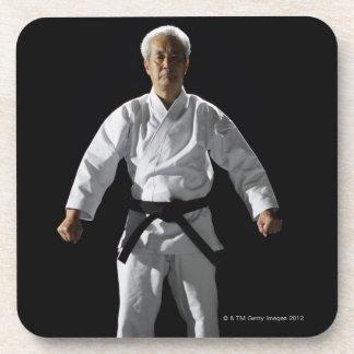 Karate master, portrait, studio shot beverage coasters