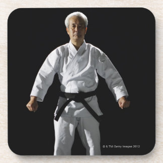Karate master, portrait, studio shot coaster