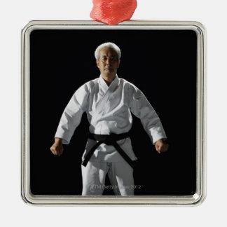 Karate master, portrait, studio shot Silver-Colored square decoration