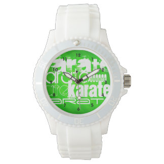 Karate; Neon Green Stripes Watch