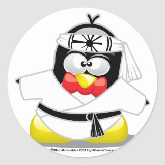 Karate Penguin Classic Round Sticker