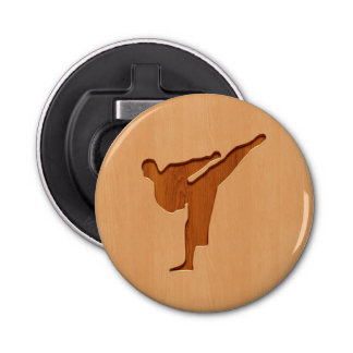 Karate silhouette engraved on wood effect bottle opener