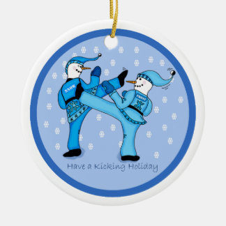 Karate Snowmen Sparring for the Holidays Ornament