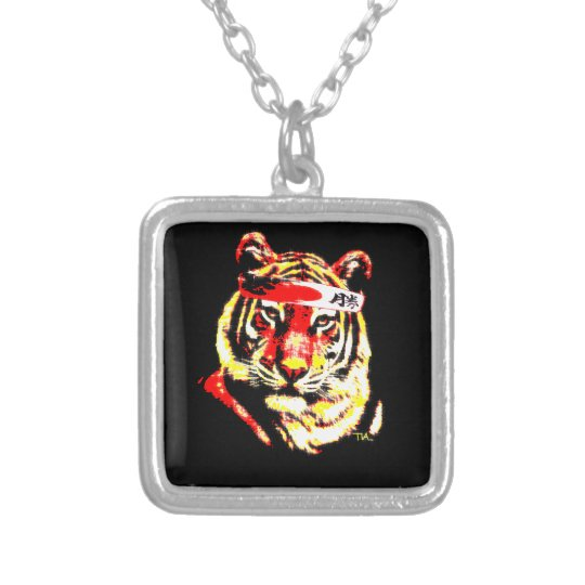 Karate Tiger Silver Plated Necklace
