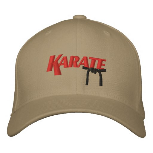 karate with black belt embroidered hats