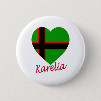 Karelia Flag Heart 6 Cm Round Badge
