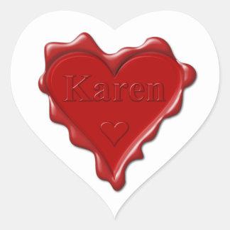 Karen. Red heart wax seal with name Karen